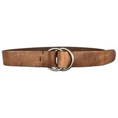 BRUNELLO CUCINELLI Size 32 Brown Leather Double Loop Belt