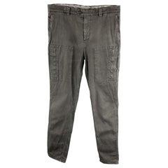 BRUNELLO CUCINELLI Size 32 Dark Gray Cotton / Elastane Front Tab Zip Fly Casual