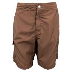 BRUNELLO CUCINELLI Size 34 Brown Polyester Cargo Swim Trunks