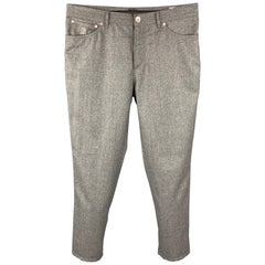 BRUNELLO CUCINELLI Size 34 Grey Heather Wool Button Fly Dress Pants