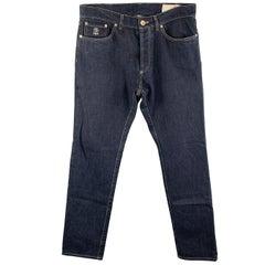 BRUNELLO CUCINELLI Size 34 Indigo Contrast Stitch Denim Button Fly Jeans