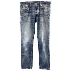 BRUNELLO CUCINELLI Size 34 Indigo Washed Denim Button Fly Jeans