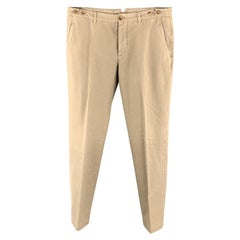BRUNELLO CUCINELLI Size 34 Khaki Cotton Side Tabs Button Fly Casual Pants