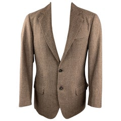 BRUNELLO CUCINELLI Size 38 Brown Checkered Wool Notch Lapel Sport Coat Jacket