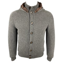 BRUNELLO CUCINELLI Size 40 Dark Gray Knitted Cashmere Buttoned Jacket