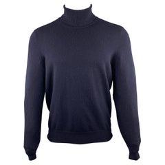 BRUNELLO CUCINELLI Size 40 Navy Cashmere Turtleneck Pullover
