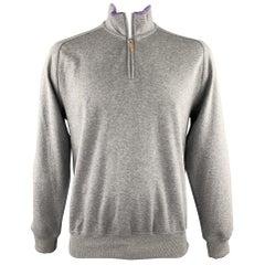 BRUNELLO CUCINELLI Size 44 Grey & Purple Heather Cotton Half Zip Pullover