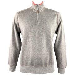 BRUNELLO CUCINELLI Size 44 Grey & Salmon Heather Cotton Half Zip Pullover