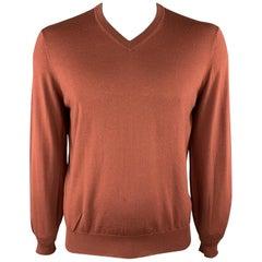 BRUNELLO CUCINELLI Size L Brick Solid Wool / Cashmere V-Neck Sweater