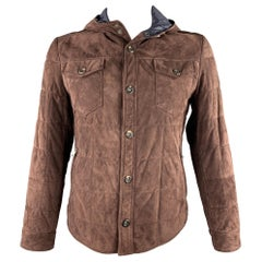 BRUNELLO CUCINELLI Size L Brown Quilted Suede Snaps Hooded Jacket