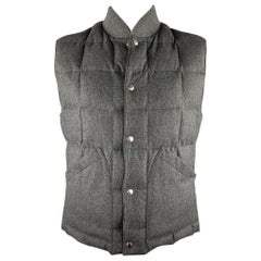 BRUNELLO CUCINELLI Size L Charcoal Quilted Wool Blend Reversible Vest
