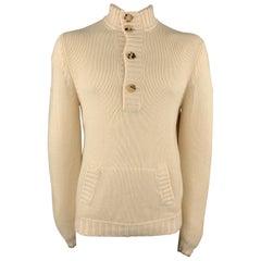 BRUNELLO CUCINELLI Size L Cream Knitted Cashmere Half Button Pocket Pullover