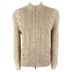 BRUNELLO CUCINELLI Size L Oatmeal Beige Heathered Cable Knit Wool / Cashmere Zip