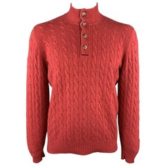 BRUNELLO CUCINELLI Size L Red Cable Knit Cashmere Half Buttoned High Collar Pull