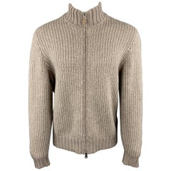 BRUNELLO CUCINELLI Size L Taupe & Cream Striped Wool / Cashmere Zip Up Cardigan