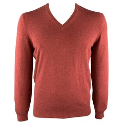 BRUNELLO CUCINELLI Size M Brick Knitted Cashmere V-Neck Pullover Sweater