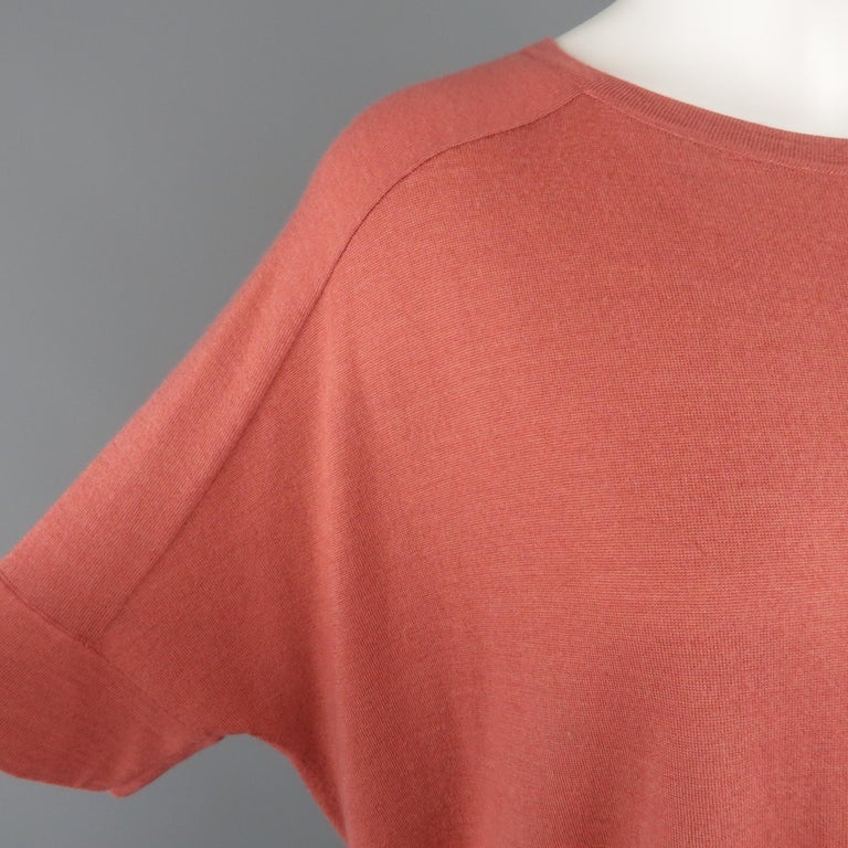 BRUNELLO CUCINELLI pullover sweater come sin a muted red light weight cashmere silk blend knit with a round neck, short raglan seam sleeves, and oversized silhouette. Made in Italy.   Excellent Pre-Owned Condition. Retails: $1,795.00. Marked: M