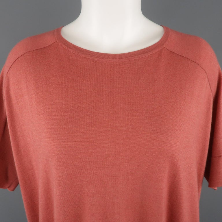 Orange BRUNELLO CUCINELLI Size M Muted Red Cashmere Oversized Short Sleeve Pullover For Sale
