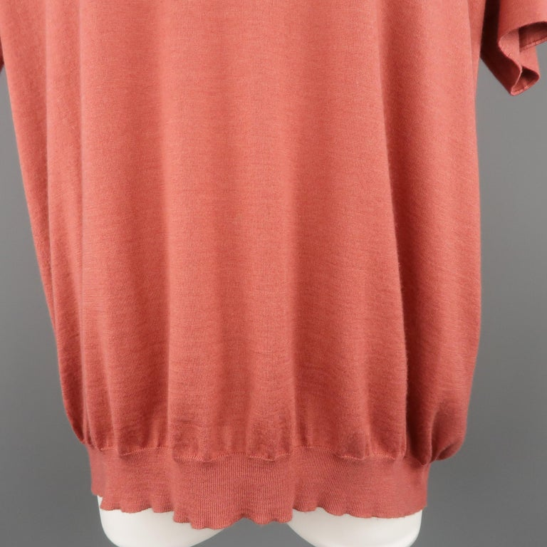 BRUNELLO CUCINELLI Size M Muted Red Cashmere Oversized Short Sleeve Pullover In Excellent Condition For Sale In San Francisco, CA