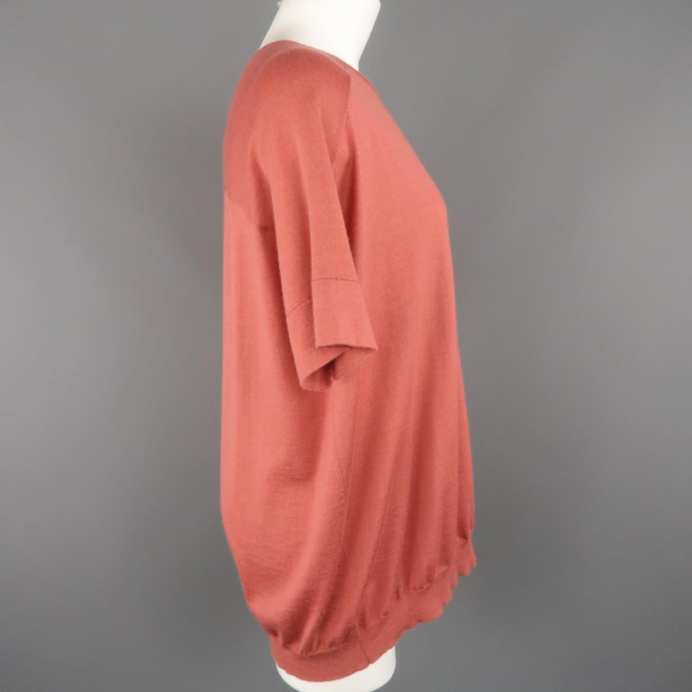 Women's BRUNELLO CUCINELLI Size M Muted Red Cashmere Oversized Short Sleeve Pullover For Sale