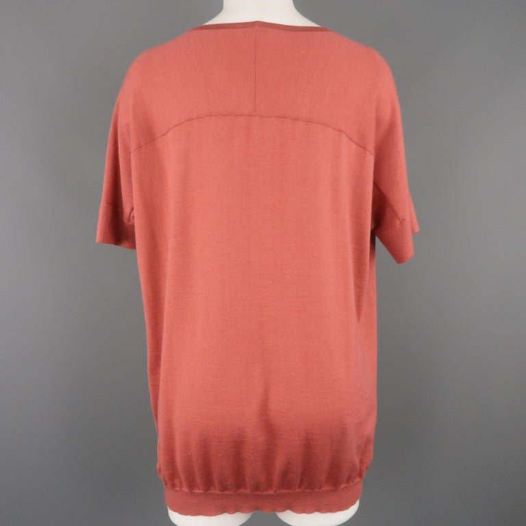 BRUNELLO CUCINELLI Size M Muted Red Cashmere Oversized Short Sleeve Pullover For Sale 1