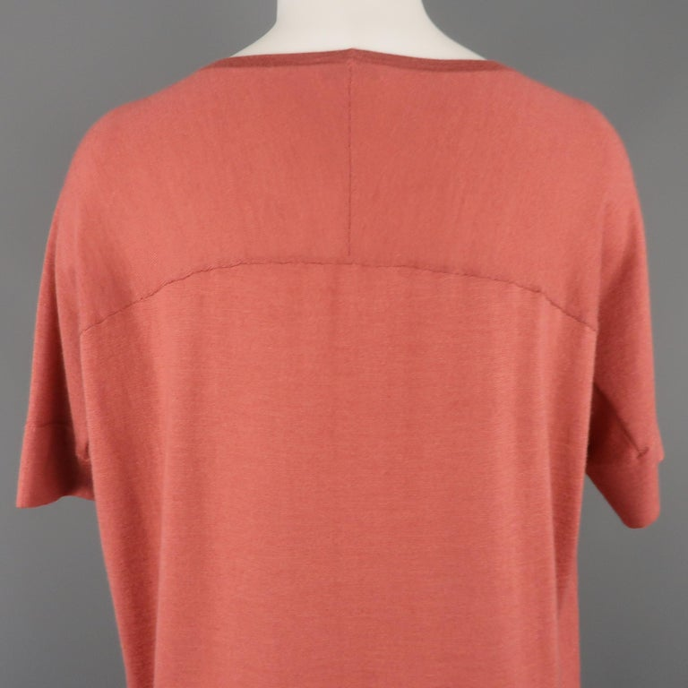 BRUNELLO CUCINELLI Size M Muted Red Cashmere Oversized Short Sleeve Pullover For Sale 2