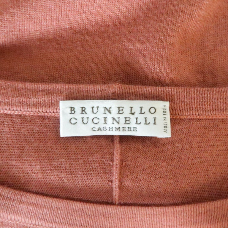 BRUNELLO CUCINELLI Size M Muted Red Cashmere Oversized Short Sleeve Pullover For Sale 3