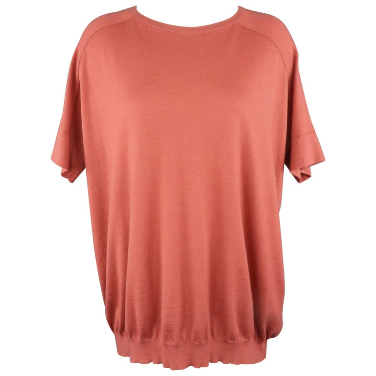 BRUNELLO CUCINELLI Size M Muted Red Cashmere Oversized Short Sleeve Pullover For Sale