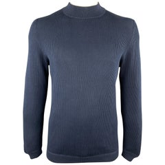 BRUNELLO CUCINELLI Size M Navy Ribbed Knit Cotton High Mock Neck Collar Pullover