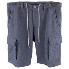 BRUNELLO CUCINELLI Size M Navy Solid Cotton Cargo Pockets Shorts