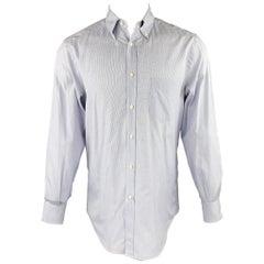 BRUNELLO CUCINELLI Size M Navy Window Pane Cotton Button Down Long Sleeve Shirt