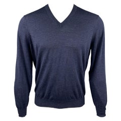 BRUNELLO CUCINELLI Size M Navy Wool / Cashmere V-Neck Pullover