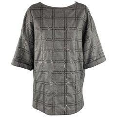 BRUNELLO CUCINELLI Size S Grey Sequin Monili Plaid Short Sleeve Top
