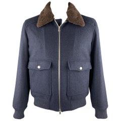 BRUNELLO CUCINELLI Size XL Navy Cashmere Zip Up Fur Collar Jacket