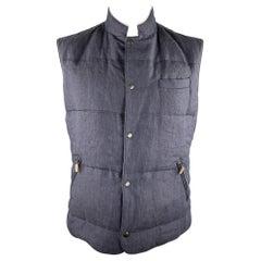 BRUNELLO CUCINELLI Size XL Navy Quilted Linen Snaps Vest