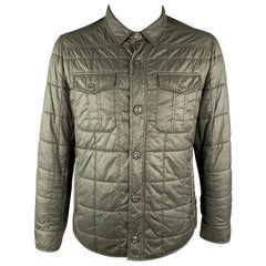 BRUNELLO CUCINELLI Size XL Olive Quilted Nylon Snaps Zip Pockets Jacket
