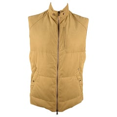 BRUNELLO CUCINELLI Size XL Quilted Khaki Twill Zip Up Puff Zip Pockets Vest