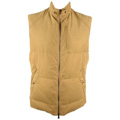BRUNELLO CUCINELLI Size XLQuilted Khaki Twill Zip Up Puff Vest
