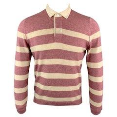 BRUNELLO CUCINELLI Size XS Burgundy & Cream Stripe Cashmere Long Sleeve POLO