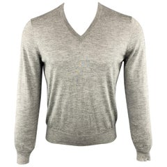 BRUNELLO CUCINELLI Size XS Gray Heather Cashmere / Silk V-Neck Pullover Sweater