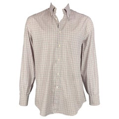 BRUNELLO CUCINELLI Size XXL White & Grey Plaid Cotton Long Sleeve Shirt