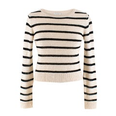 Brunello Cucinelli Striped Embellished Linen Knit Top XS