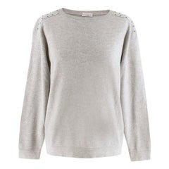 Brunello Cucinelli Studded-Shoulder Cashmere Sweater SIZE S