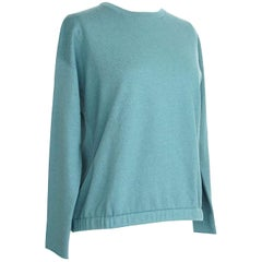 Brunello Cucinelli Sweater Teal Cashmere Crewneck Unique Waist Detail S Nwt