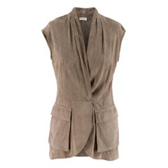 Brunello Cucinelli taupe suede sleeveless jacket IT 40