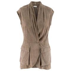 Brunello Cucinelli taupe suede sleeveless jacket - Size US 4