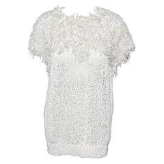 Brunello Cucinelli White Crochet Short Sleeve Sweater Size XXL