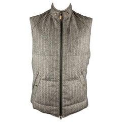 BRUNELLO CUCINELLI XL Grey Chalk Stripe Wool / Cashmere Quilted Vest