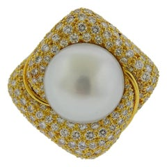 Bruner Gold Diamond South Sea Pearl Ring