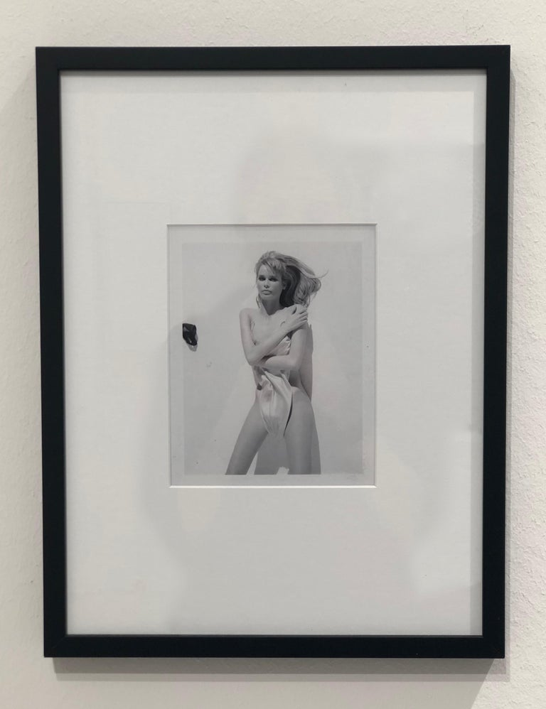 Claudia Schiffer, Paris, Fashion Photography,  - Gray Black and White Photograph by Bruno Bisang